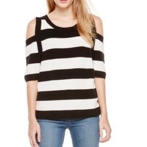 Two by Vince Camuto Striped Cold Shoulder Sweater